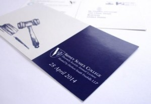 Sydney Sussex College Invite Printed by Victoire Press Cambridge